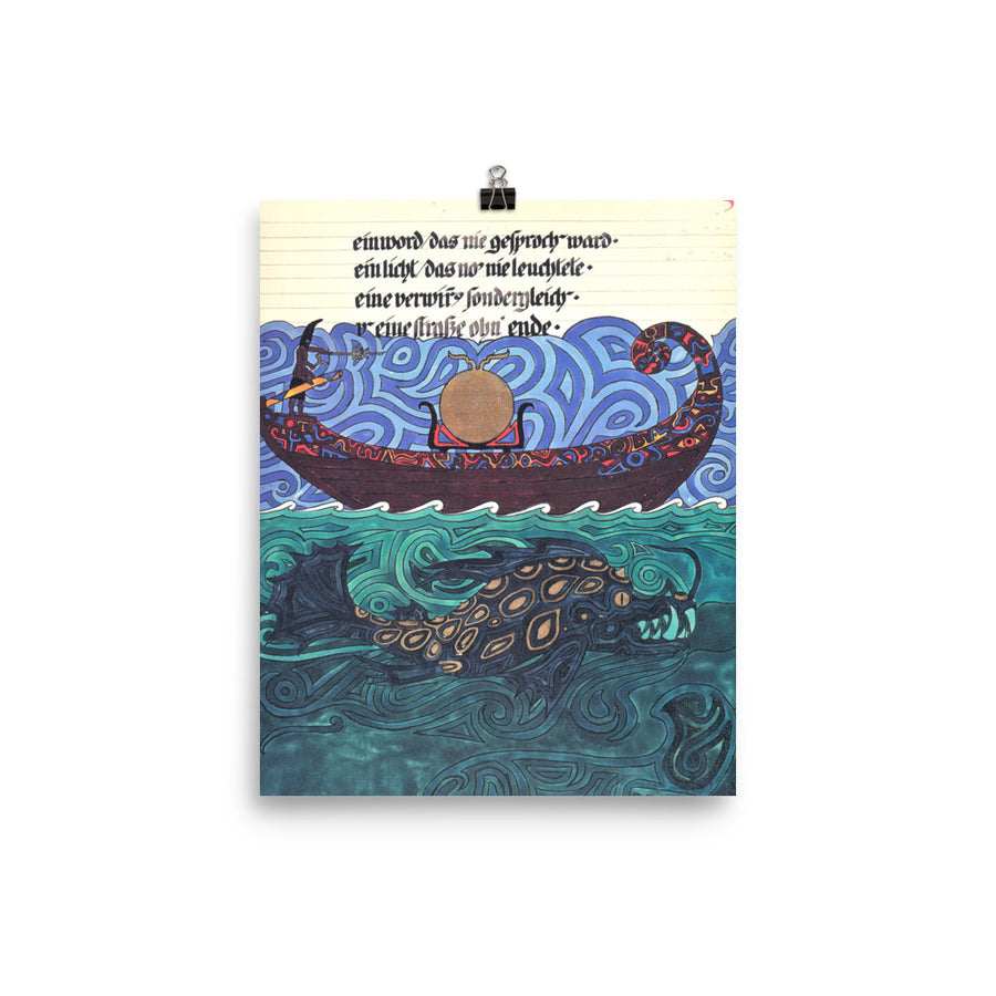 The Sun Boat & Sea Monster - Jungian Art Poster