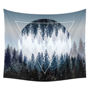 Forest Trees and Moon Sky Fabric Wall Hanging Tapestry