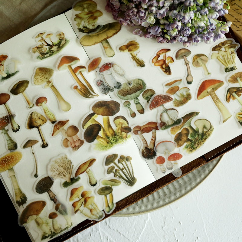 Vintage mushroom Stickers - (100 pieces) for Scrapbooking Planner/Card Making/Journaling