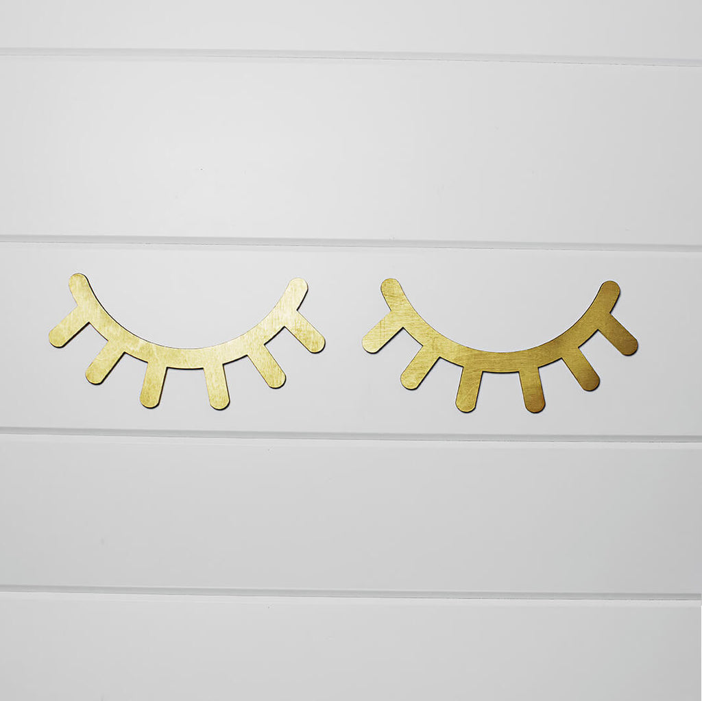 Sleepy Eyelash Wall Decor | set of 2 Gold