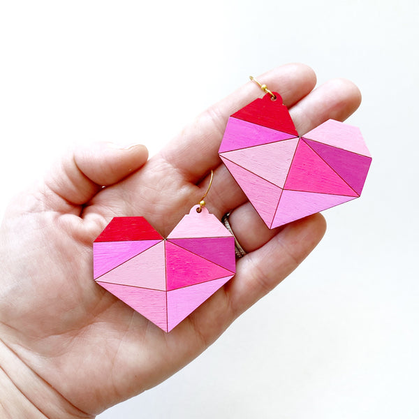 Pink Pieces Wooden Heart Earrings