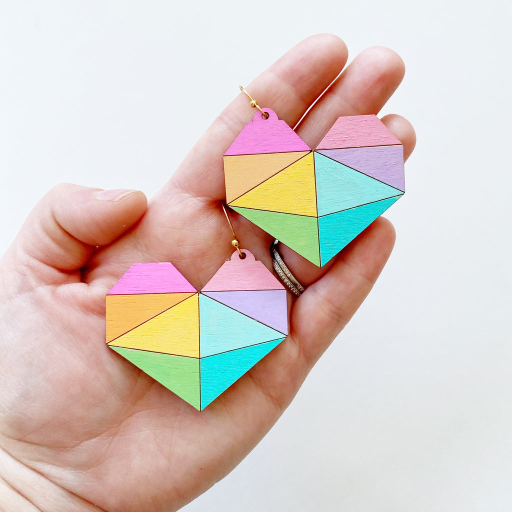 Rainbow Pieces Wooden Heart Earrings