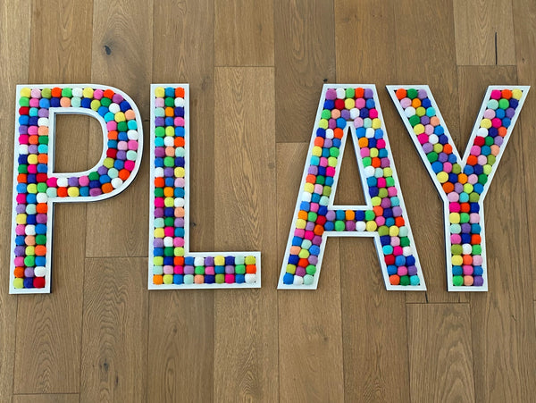 White Tall PLAY Letters