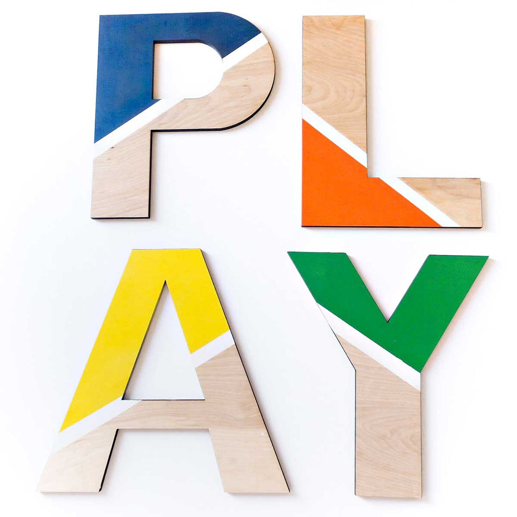 Masculine Block PLAY Letters