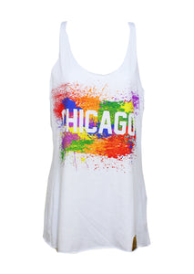 Chicago Splatter Tank Women (White)