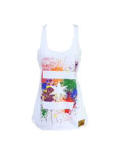 We Are One Star Splatter Tank (White)