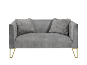 Grey Loveseat with fur pillows