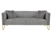 Grey Tufted Sofa with Fur Pillow