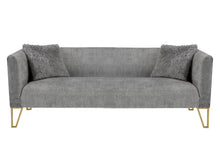 Load image into Gallery viewer, Grey Tufted Sofa with Fur Pillow
