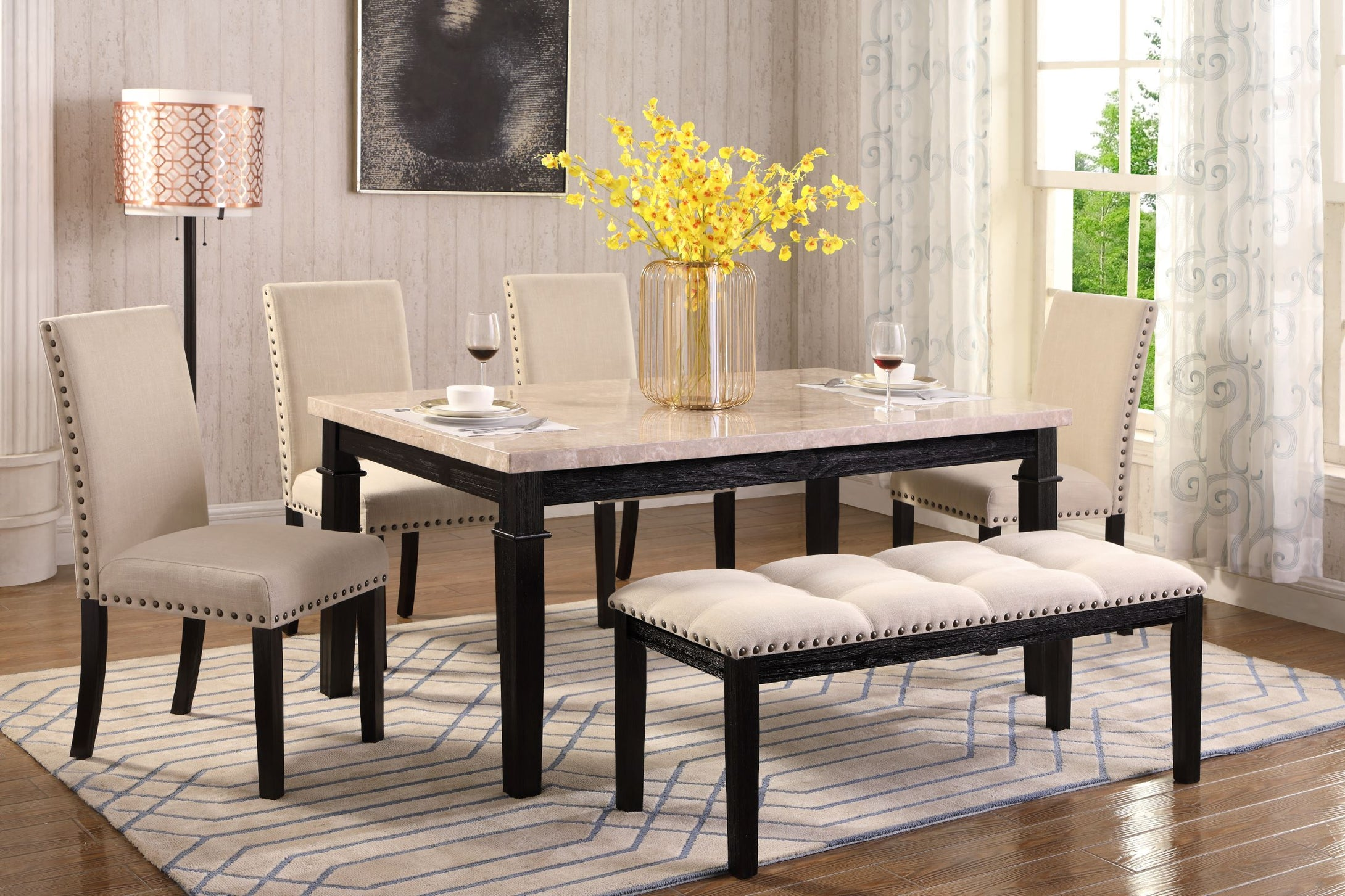 Nancy 6Pc Dinette Set (Real Marble)