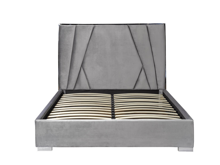 Grey Suede Bed frame with Mattress Support