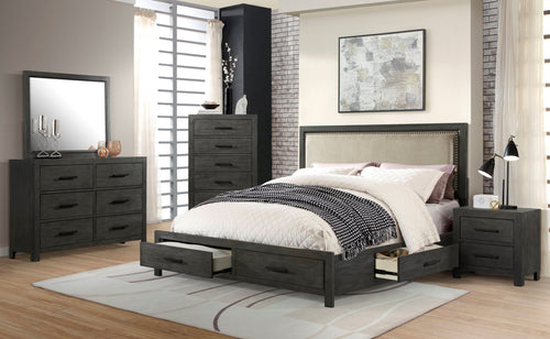 Wood bedroom set with drawers
