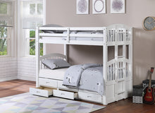 Load image into Gallery viewer, twin/twin white bunk bed