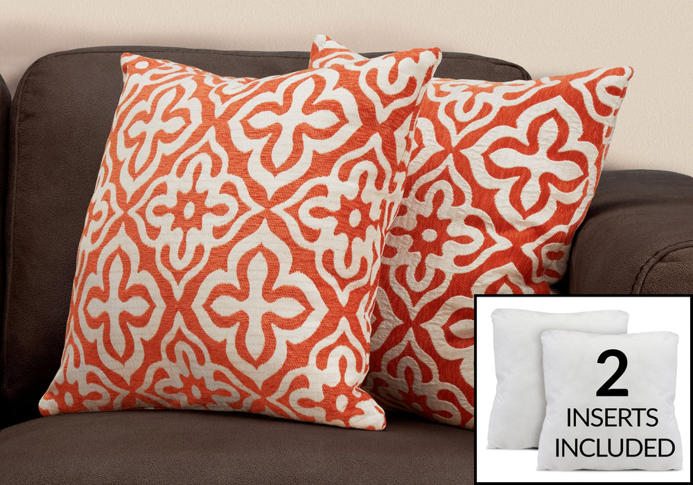 Motif Toss Pillows - Orange/Grey/Taupe (Set of 2)