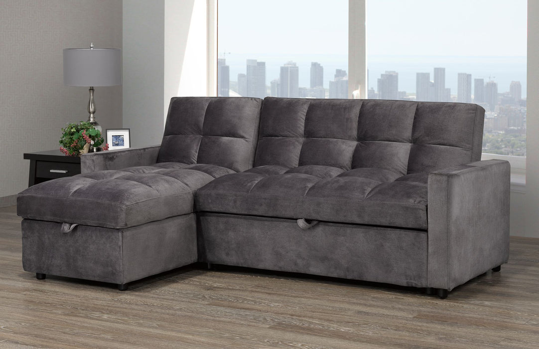Jayden Pull Out Sectional - Brown/Grey