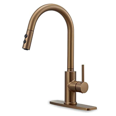 Peppermint Kitchen Sink Faucet Pull Down Brushed Rose Gold with Pull Out Sprayer High Arc Single Handle - peppermin