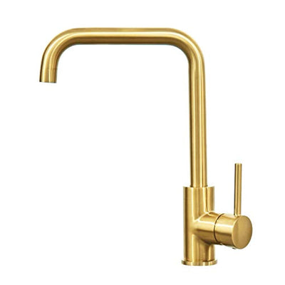 Kitchen Faucet Brushed Gold Single Handle Stainless Steel Kitchen Bar Sink Faucet Square with Deck Plate - peppermin