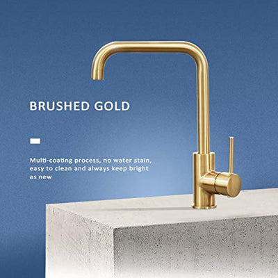 Kitchen Faucet Brushed Gold Single Handle Stainless Steel Kitchen Bar Sink Faucet Square with Deck Plate