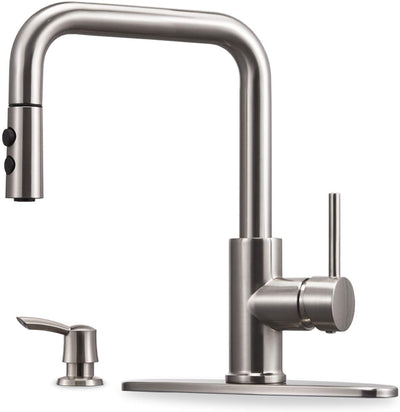 Kitchen Faucet with Pull Down Sprayer and Soap Dispenser Single Handle Stainless Steel Brushed Nickel High Arc Pull Out Kitchen Sink Faucets with Deck Plate - peppermin