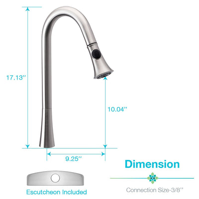 Single Handle Pull Down Kitchen Faucet with Soap Dispenser Brushed Nickel, Peppermint - peppermin