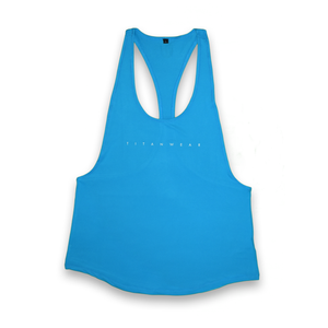 Womens stringer tank top blue front