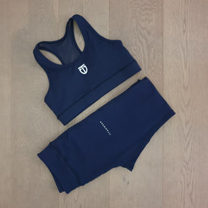 Women's Nylon Mesh Sports Bra - Navy Blue