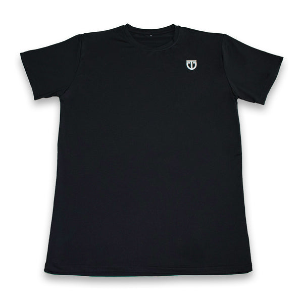 Black quick dry polyester gym/exercise tee front