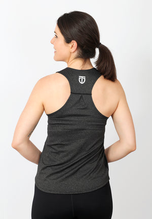 Women's Regular Fit Poly Racerback - Charcoal
