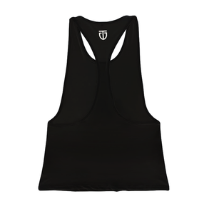 Women's Open-Back Poly Stringer (Straight Hem) - Black