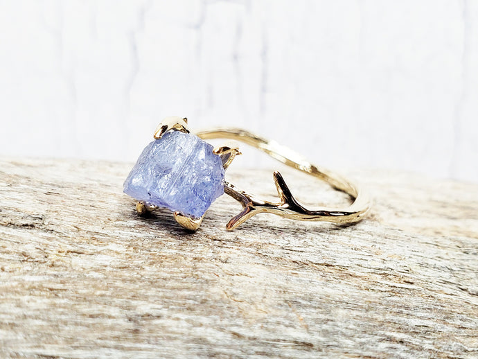 Raw Tanzanite Gemstone Twig/Branch Ring in Solid Sterling Silver or Gold/Rose Gold Plate