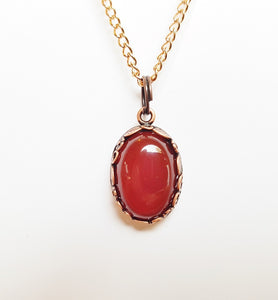 Long & Layered Copper and Carnelian Gemstone Pendant Necklace