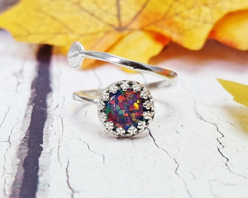 Opal Engagement Ring ~ Sterling Silver Adjustable Promise Ring
