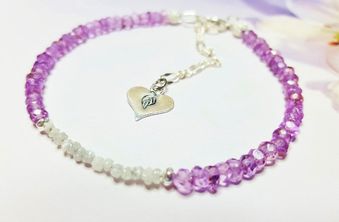 Raw Amethyst Tennis Bracelet with Rough Diamonds and Sterling Silver