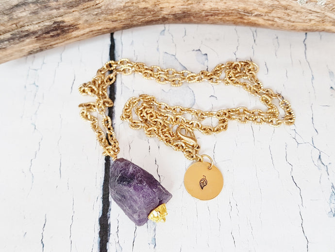 Amethyst Necklace ~ Birthstone Necklace for February Birthday ~ Raw Crystal Amethyst