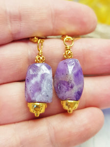 Chunky Amethyst Statement Earrings ~ Gold Leverback Gemstone Earrings