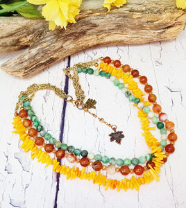 Fire Agate, Coral & Jade Choker Necklace ~ Triple Strand Layered Gemstone Necklace