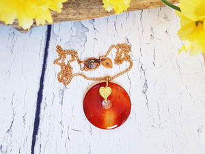 Carnelian Necklace ~ Layered & Long Donut Pendant Necklace on a Copper Chain