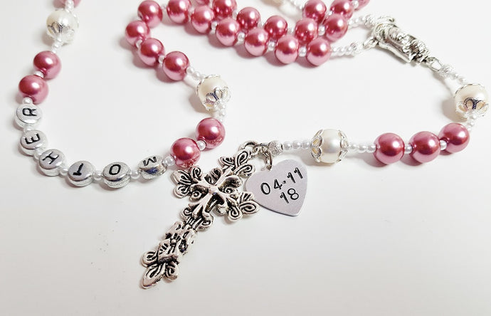 Personalized Wedding Gift For Mother Of The Bride, Hand Stamped Swarovski Pearl Catholic Rosary