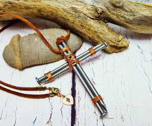 Rustic Mans Cross Necklace ~ Real Steel Nails ~ 11th Anniversary Gift