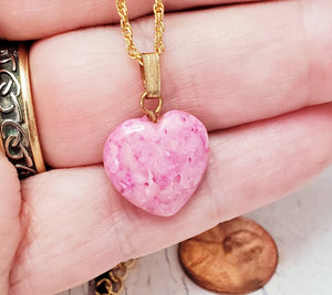 Tula Pink Heart Necklace ~ Dainty Stone Heart on an 18 Inch Gold Chain