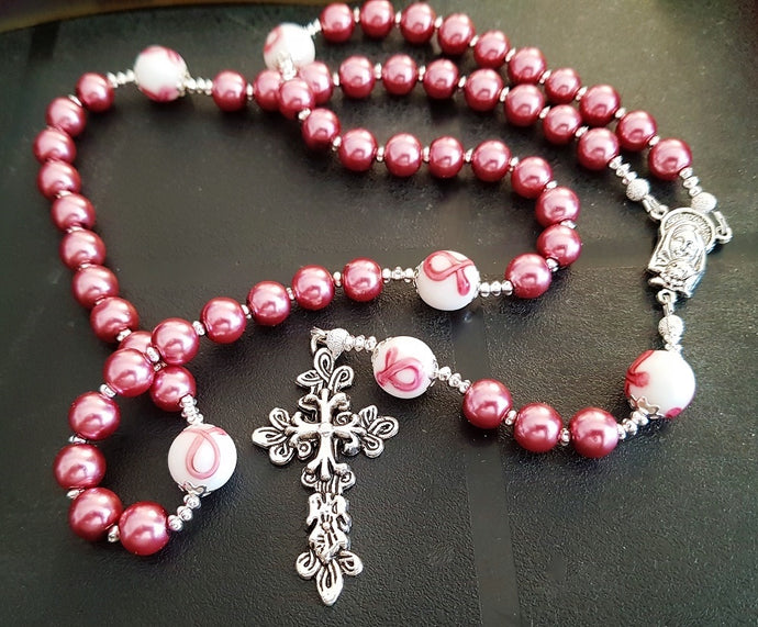 Dusty Rose Feminine Rosary ~ Breast Cancer Survivor Gift