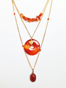 Boho Necklaces For Women Long Copper & Carnelian Gemstone Donut Pendant
