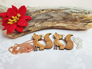 Wood Fox Necklace or Convertible Brooch