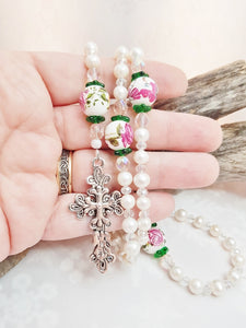 Victorian Style Pearl Rosary ~ Handmade Feminine Freshwater Pearls & Crystals