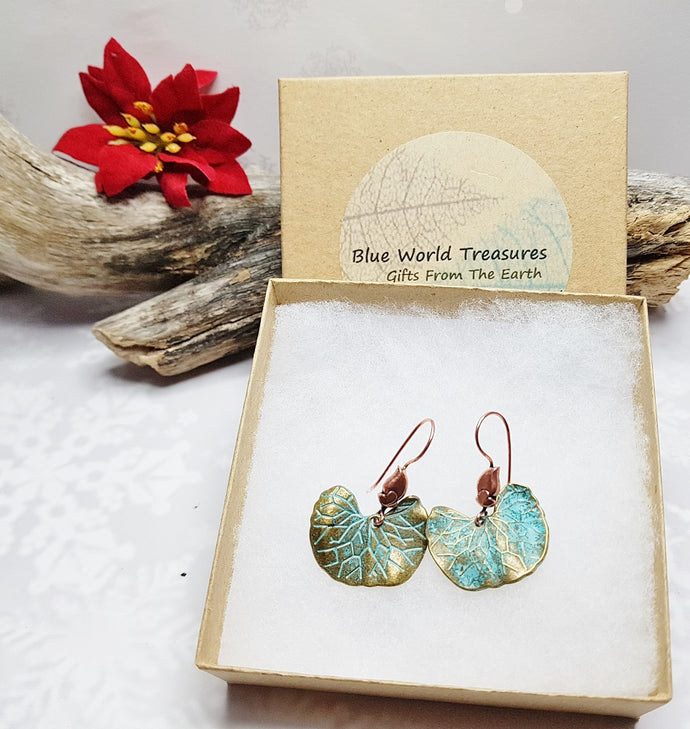Copper Verdigris Ginkgo Leaf Earrings ~ Roaring 20s Art Deco Style