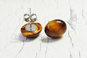 Tigers Eye Minimalist Earrings ~ Boho Stud Earrings, Cat Lover Gift