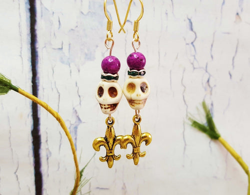 New Orleans Mardi Gras Earrings, Beaded Dangle Earrings ~ Fleur De Lis Stone Earrings