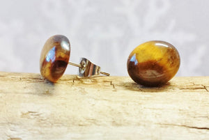 Tigers Eye Stud Earrings ~Minimalist Dainty 8x10mm Oval Gemstone Studs