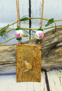 Dried Alberta Wild Rose Statement Necklace ~ Real Pressed Flowers ~ Pink Roses