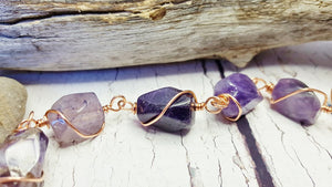 Amethyst Bracelet, Chunky Boho Copper Wire Wrapped Jewelry